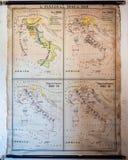 Carte géographique de vintage de l'Italie avec les frontières à partir de 1848 à photos stock