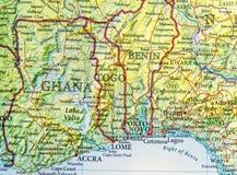 Carte géographique du Ghana, du Togo et du Bénin avec les villes importantes Images libres de droits