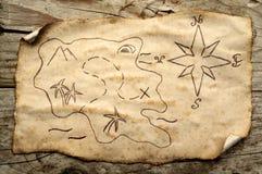 Carte âgée de trésor Images libres de droits