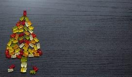 Carte gommeuse d'arbre de Noël de figurines images stock