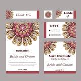 Carte graphique d'invitation avec le mandala Ornement décoratif pour le design de carte : épouser, bithday, partie, saluant cru Photographie stock
