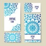 Carte graphique d'invitation avec le mandala Ornement décoratif pour le design de carte : épouser, bithday, partie, saluant cru Photos libres de droits