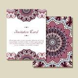 Carte graphique d'invitation avec le mandala Ornement décoratif pour le design de carte : épouser, bithday, partie, saluant cru Image libre de droits