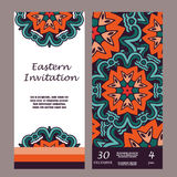 Carte graphique d'invitation avec le mandala Ornement décoratif pour le design de carte : épouser, bithday, partie, saluant Elem  Photos stock