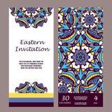 Carte graphique d'invitation avec le mandala Ornement décoratif pour le design de carte : épouser, bithday, partie, saluant Elem  illustration stock