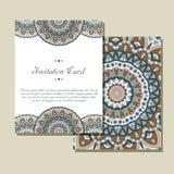 Carte graphique d'invitation avec le mandala Ornement décoratif pour le mariage de design de carte, bithday, partie, salutation c Images libres de droits