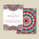Carte graphique d'invitation avec le mandala Ornement décoratif pour le mariage de design de carte, bithday, salutation de partie Image libre de droits