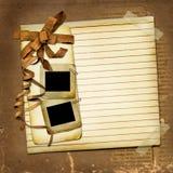 Carte grunge avec les glissières et la proue brune illustration stock