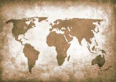 Carte grunge du monde de sépia Images stock