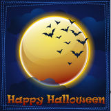 Carte Halloween heureux, lune Photos libres de droits