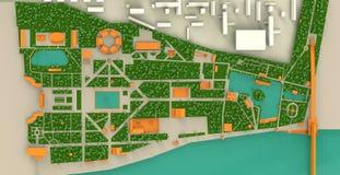 Carte haut détaillée de trois dimensions de parc de Moscou Gorki et Photos stock