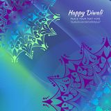 Carte heureuse d'invitation de Diwali Mandala de vecteur sur le beckground calorful Images libres de droits