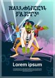 Carte heureuse d'invitation de partie de Halloween de groupe de hippie de zombi illustration libre de droits