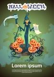 Carte heureuse d'invitation de partie de Halloween de liste de faux de prise de faucheuse illustration de vecteur