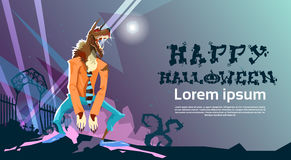 Carte heureuse d'invitation de partie de Halloween de monstre de loup-garou illustration libre de droits