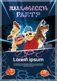 Carte heureuse de bannière d'invitation d'affiche de nuit de zombi de partie de Halloween Image libre de droits