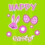 Carte heureuse de Bunny Painted Eggs Colorful Greeting de lapin de bannière de vacances de Pâques Photo stock