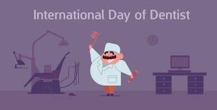 Carte heureuse de célébration de jour du ` s de dentiste avec le bureau de médecin et de dentiste Image libre de droits