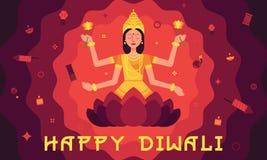 Carte heureuse de Diwali avec Lakshmi dans le style plat illustration stock