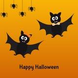 Carte heureuse de Halloween avec des battes et des araignées d'amusement Photos libres de droits