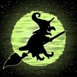 Carte heureuse de Halloween avec la sorcière sur un manche à balai illustration de vecteur