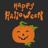 Carte heureuse de Halloween avec le potiron d'amusement illustration libre de droits