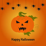 Carte heureuse de Halloween avec le potiron terrible illustration stock