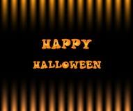 Carte heureuse de Halloween avec le texte sur le streptocoque noir et jaune de gradation Image stock