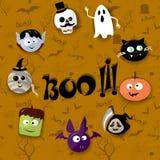 Carte heureuse de Halloween avec le vampire, la maman, le crâne, la batte, le potiron et le zombi illustration libre de droits