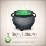 Carte heureuse de Halloween avec un chaudron de ébullition de sorcière illustration libre de droits