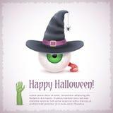 Carte heureuse de Halloween avec un oeil de sorcière dans le chapeau illustration stock