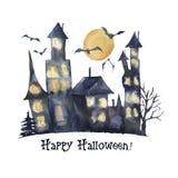 Carte heureuse de Halloween d'aquarelle Château peint à la main avec les fenêtres rougeoyantes, battes d'isolement sur le fond bl Image libre de droits