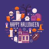 Carte heureuse de Halloween dans la conception plate Image stock