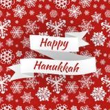 Carte heureuse de Hanoucca avec des flocons de neige, vecteur Photo libre de droits