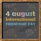 Carte heureuse de jour d'amitié 4 août Photo stock