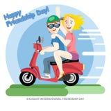 Carte heureuse de jour d'amitié 4 filles d'amis d'August Best montant une moto rouge Photo libre de droits
