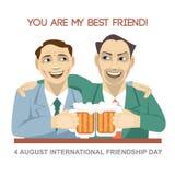 Carte heureuse de jour d'amitié Ours d'homme de 4 amis d'August Best et verres potables de secousse Image stock