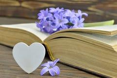 Carte heureuse de jour de pères avec la fleur de jacinthe sur le livre Photos stock