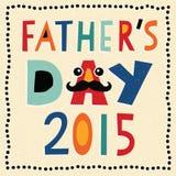 Carte heureuse 2015 de jour de pères avec le texte fabriqué à la main Photographie stock libre de droits