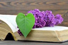 Carte heureuse de jour de pères : Fleur lilas et feuille en forme de coeur sur le vieux livre Photos stock