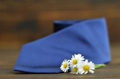 Carte heureuse de jour de pères : Fleurs bleues de lien et de ressort Photos stock