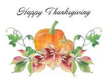 Carte heureuse de jour de thanksgiving avec des potirons et des feuilles d'automne Photo libre de droits