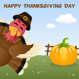 Carte heureuse de jour de thanksgiving avec la Turquie Photographie stock