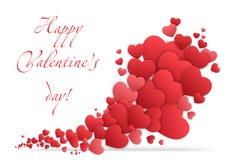 Carte heureuse de jour de Valentines avec des coeurs Vecteur de Valentine Love Images stock