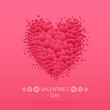 Carte heureuse de jour de Valentines avec des coeurs Vecteur de Valentine Love Photos libres de droits