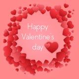 Carte heureuse de jour de Valentines avec des coeurs Vecteur de Valentine Love Photos stock