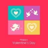 Carte heureuse de jour de valentines avec l'ange, colombes et Photo stock