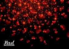 Carte heureuse de jour de valentines avec le coeur éclatant de la poussière d'étoile d'or illustration libre de droits