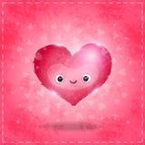 Carte heureuse de jour de valentines avec le coeur mignon Images stock