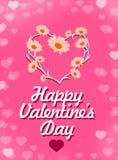 Carte heureuse de jour de valentines Beau lettrage avec le symbole du coeur Photo libre de droits